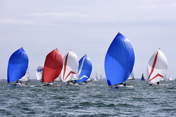 J/70s sailing with spinnakers on Solent- UK Nationals