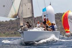J/109 sailing off Antigua under spinnaker