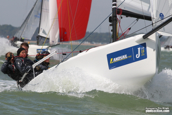 J/70 sailing JCup on the Solent, England