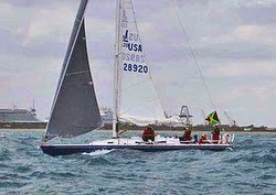 J/120 Miss Jamaica sailing Montego Bay Race off Cuba and Jamaica