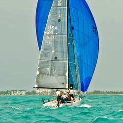 J/88 sailboat sailing off Key West, Florida