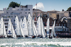 J/70s starting off Royal Yacht Squadron start line- Cowes Race Week