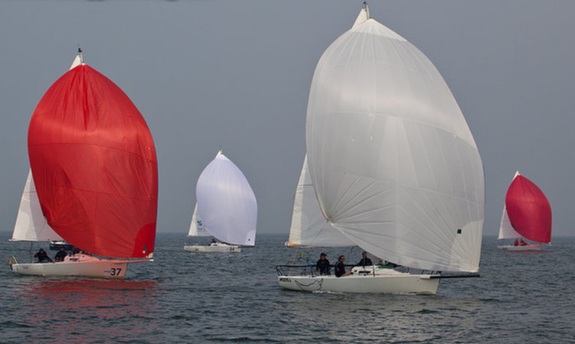 J/80s sailing the Almere Netherlands regatta