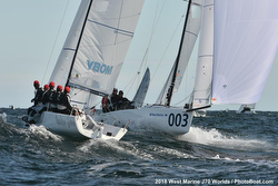J/70s sailing at Worlds