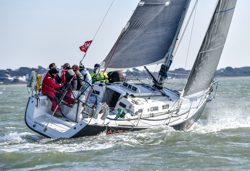J/109 sailing upwind at Warsash Spring series