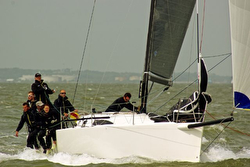 J/111 sailing Solent off Cowes, England