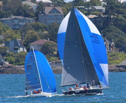 J/80 and J/145 sailing fast off Vancouver Island in Van Isle 360 race