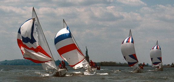J/24s of Manhattan YC sailing off New York