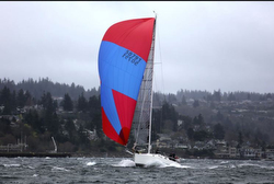 J/130 sailing fast on Puget Sound