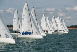 J/70s sailing off starting line- UK Nationals