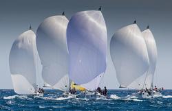 J/80s sailing with spinnakers at PalmaVela