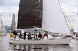 J/33 Corvo sailing off Seattle, WA