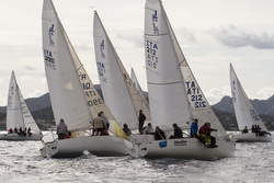 J/24s sailing winter series off Italy
