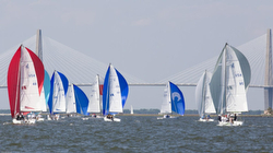 J/70s sailing Charleston Race Week harbor