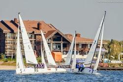 J/70 sailboats- sailing off Konakova, NW of Moscow on Upper Volga River