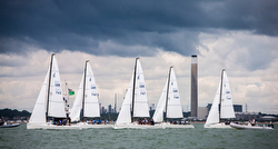 J/70s sailing the British Sailing League off Cowes