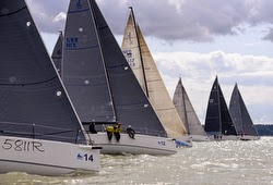 J/111s sailing off start at J/111 Worlds in Cowes, England