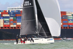 J/111s planing downwind off Cowes, England