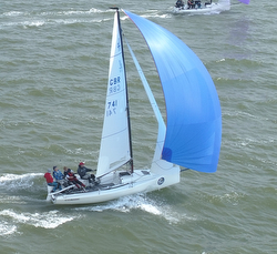 J/70 sailing J/Cup off Cowes, England