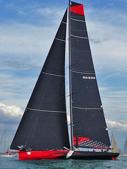 J/100 Comanche sailing off Fastnet Race starting line