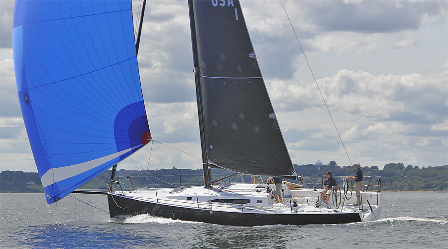 new J/121 offshore speedster sailing off Newport, RI