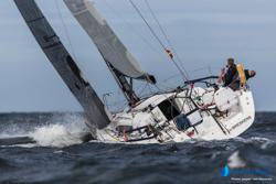 J/122E sailing upwind