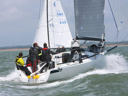 J/88 family speedster sailing on Solent
