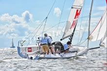 J/70- Tim Healy gybing under spinnaker