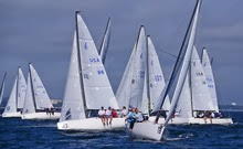 J/70s crossing tacks- sailing on Tampa Bay