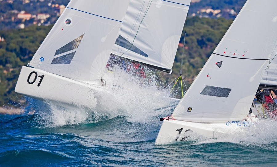J/70s sailing off Monte Carlo, Monaco in Primo Cup regatta