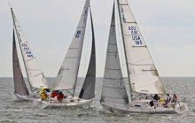 J/105s crossing tacks- sailboats on Galveston Bay