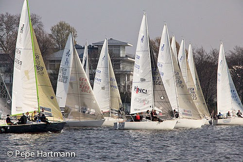 J/24s starting on Alster Lake, Hamburg, Germany- sailing regatta