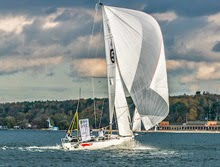 J/70 sailing under spinnaker on Alster Lake- Hamburg, Germany