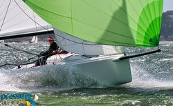 J/70 sailing fast in San Francisco