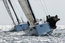 J/111 one-design sailing upwind off Cowes, England