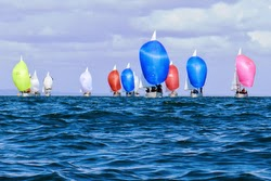 J/24s sailing downwind at Vic States in Australia
