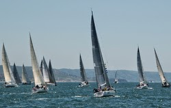 J/120s starting off Newport Beach for Ensenada Race