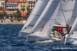 J/70 one-design sailboats- sailing off San Remo, Italy