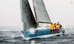J/125 sailing in rain off St Barths
