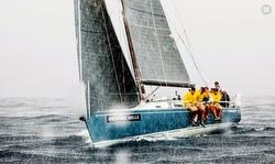 J/125 sailing in rain off St Barths