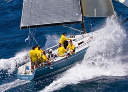 J/125 Stark Raving Mad sailing fast at Les Voiles St Barths
