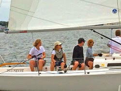 Kevin Bacon and Michael Bacon sailing J/80s in Annapolis, MD