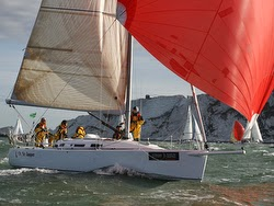 J/109 sailing Round Island race in England