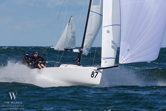 J/70 sailing fast on Lake Erie