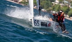 J/70 sailing upwind on Lake Garda, Italy