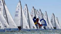 J/70s sailing off start at Worlds in San Francisco