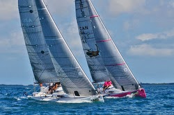 J/88 sailboats tuning off Key West