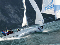 J/80 sailing on Lake Garda, Italy