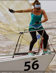 Argentina J/24 bow girl- sailing regatta