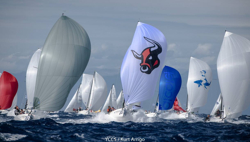 J/70s flying down reach at J/70 Worlds- Porto Cervo, Sardinia